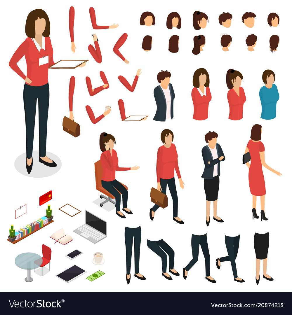 Cartoon woman create character signs color icons vector image