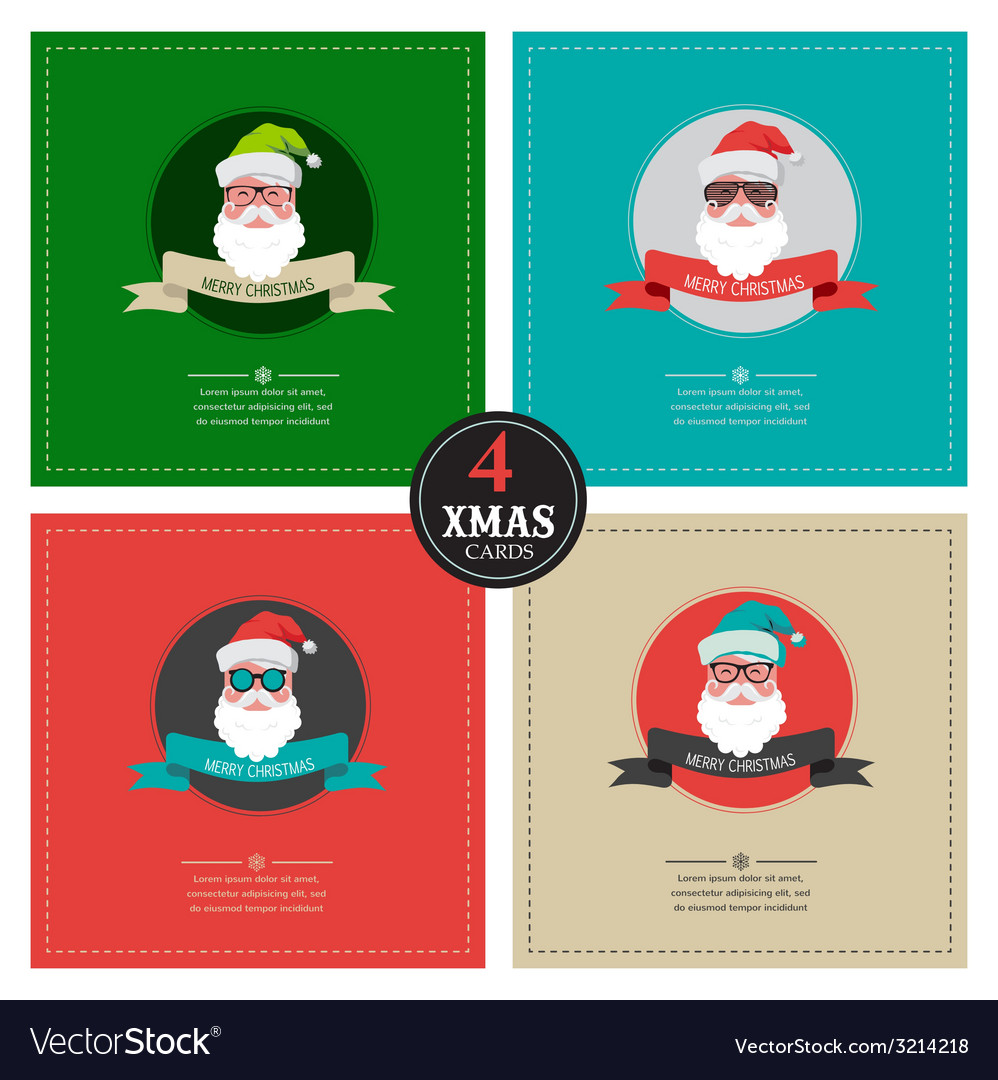 Four xmas cards with hipster santa place for your Vector Image