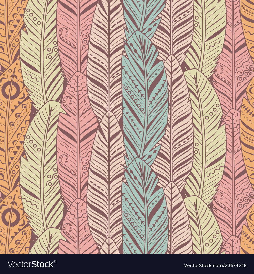 Hand drawn feathers seamless pattern vintage