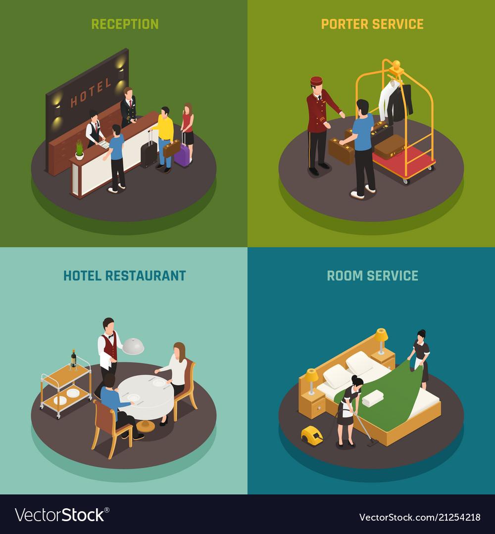 Hotel staff isometric design concept