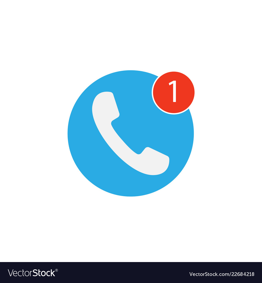 Phone icon one missed call sign white on blue