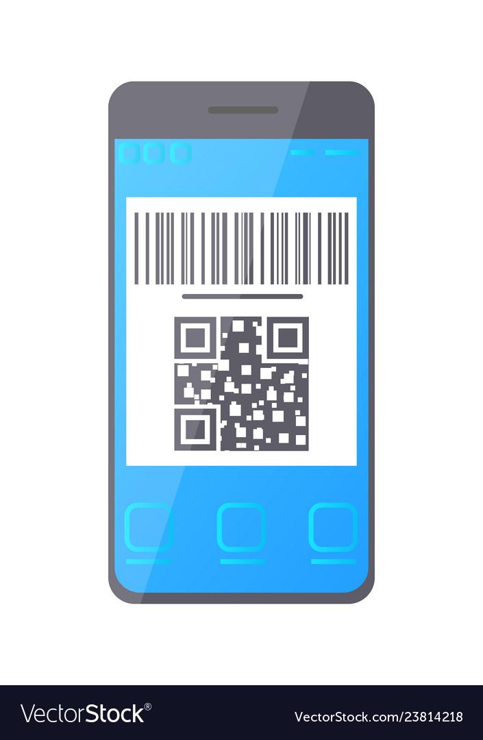 Qr bar code on smartphone screen phone monitor