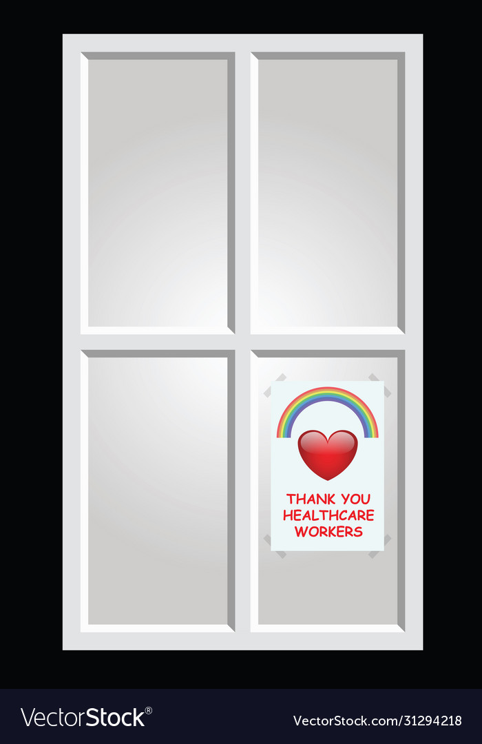 Rainbow symbol support poster in house window