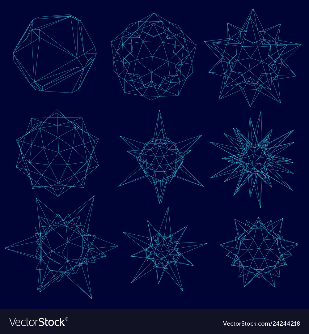 Set with a wireframe of geometric shapes of