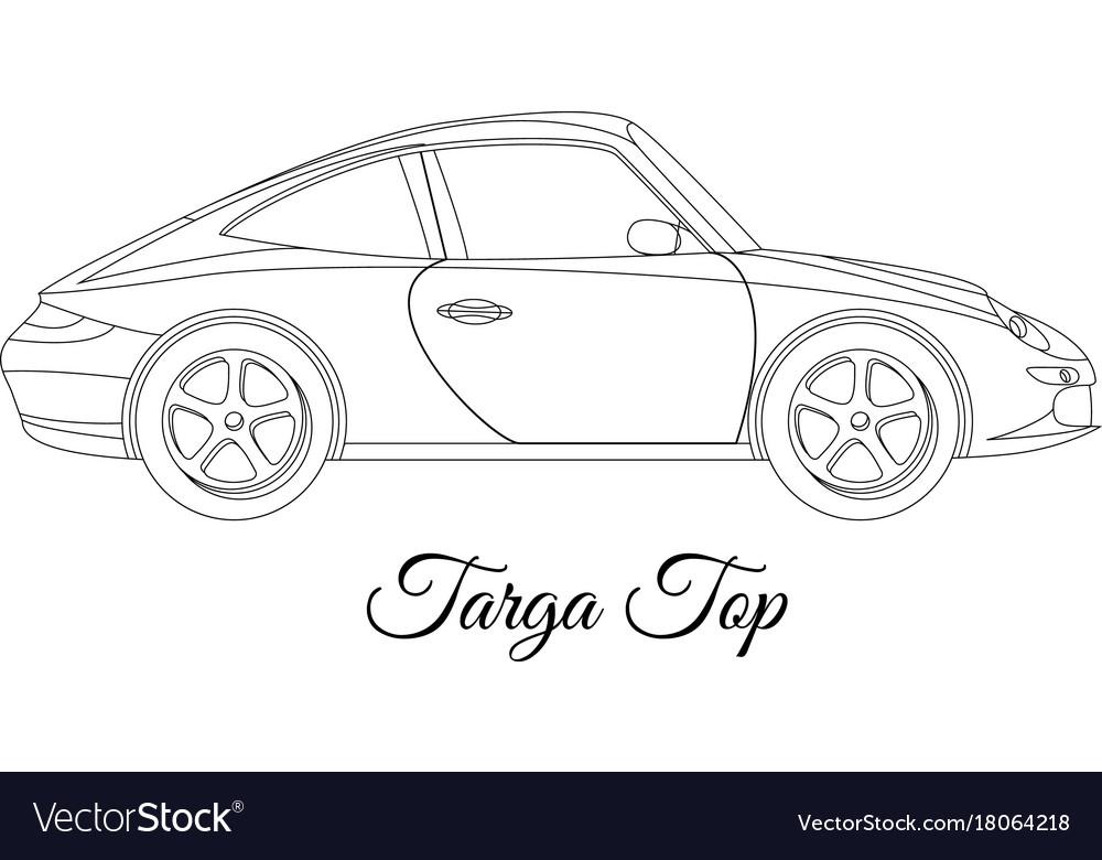 Targa top car body type outline