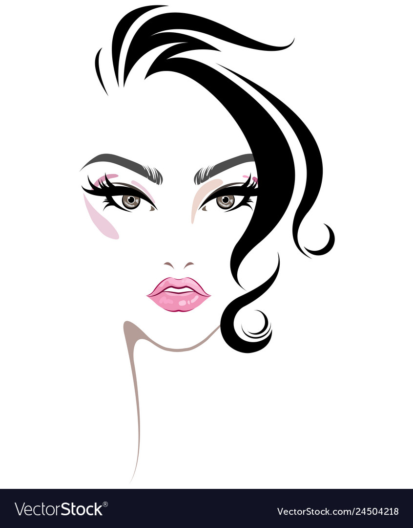 Short Hair Style Icon Women Face Makeup