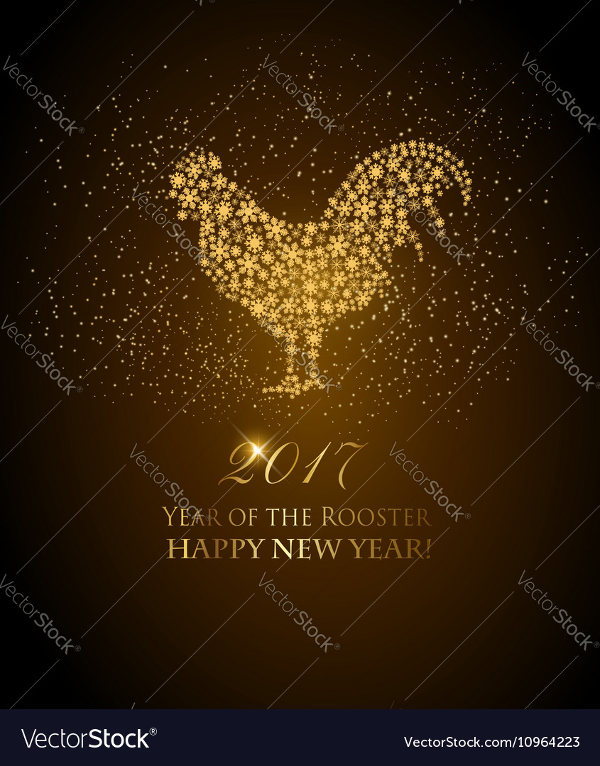 2017 New Year background with rooster symbol