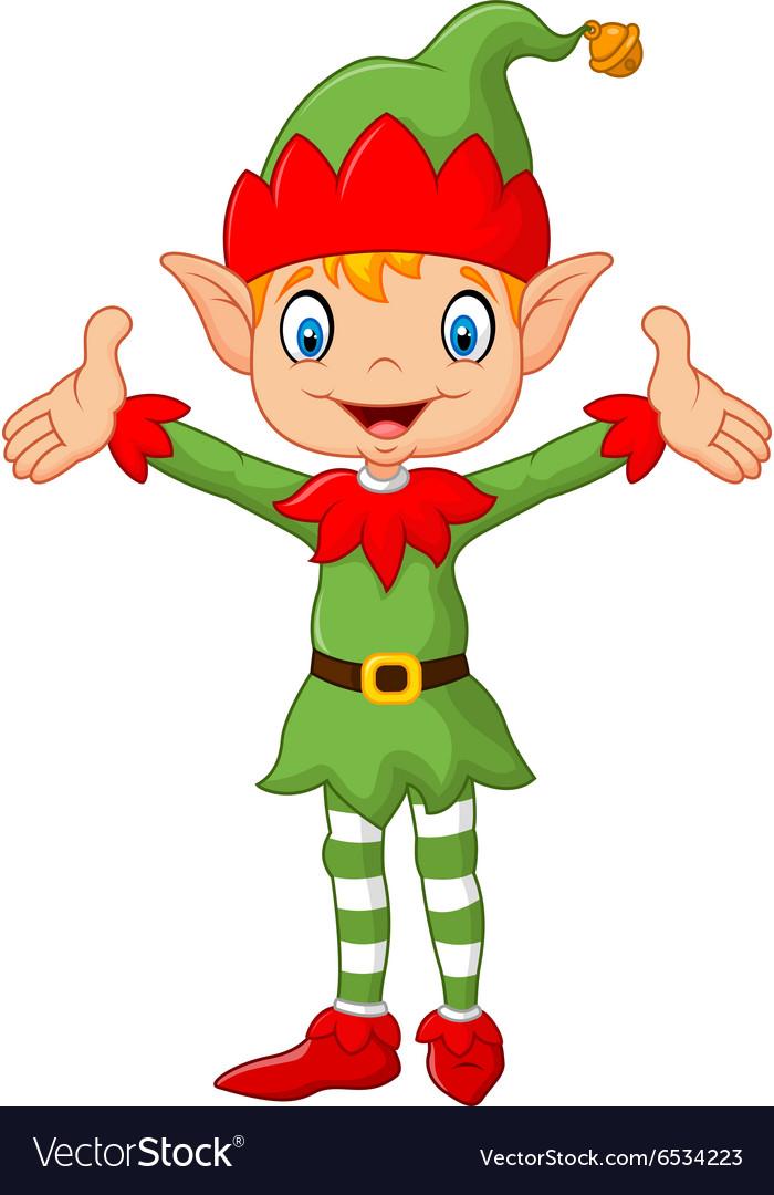 Cute green elf boy costume hands up