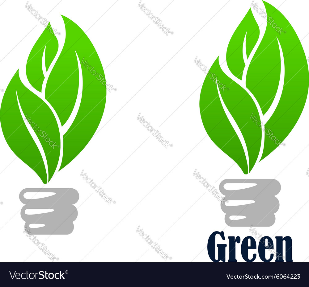 Green light bulb with leaves