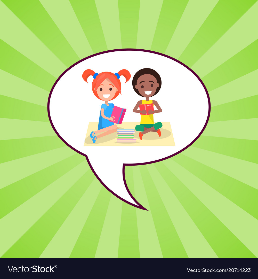 Happy international kids reading books vector image