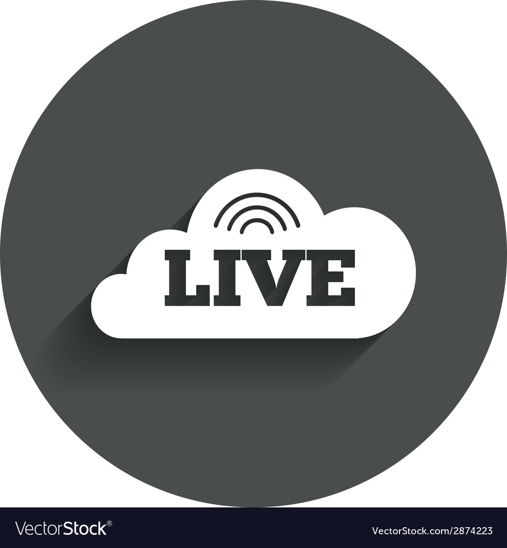 Live Sign Icon On Air Stream Symbol Royalty Free Vector