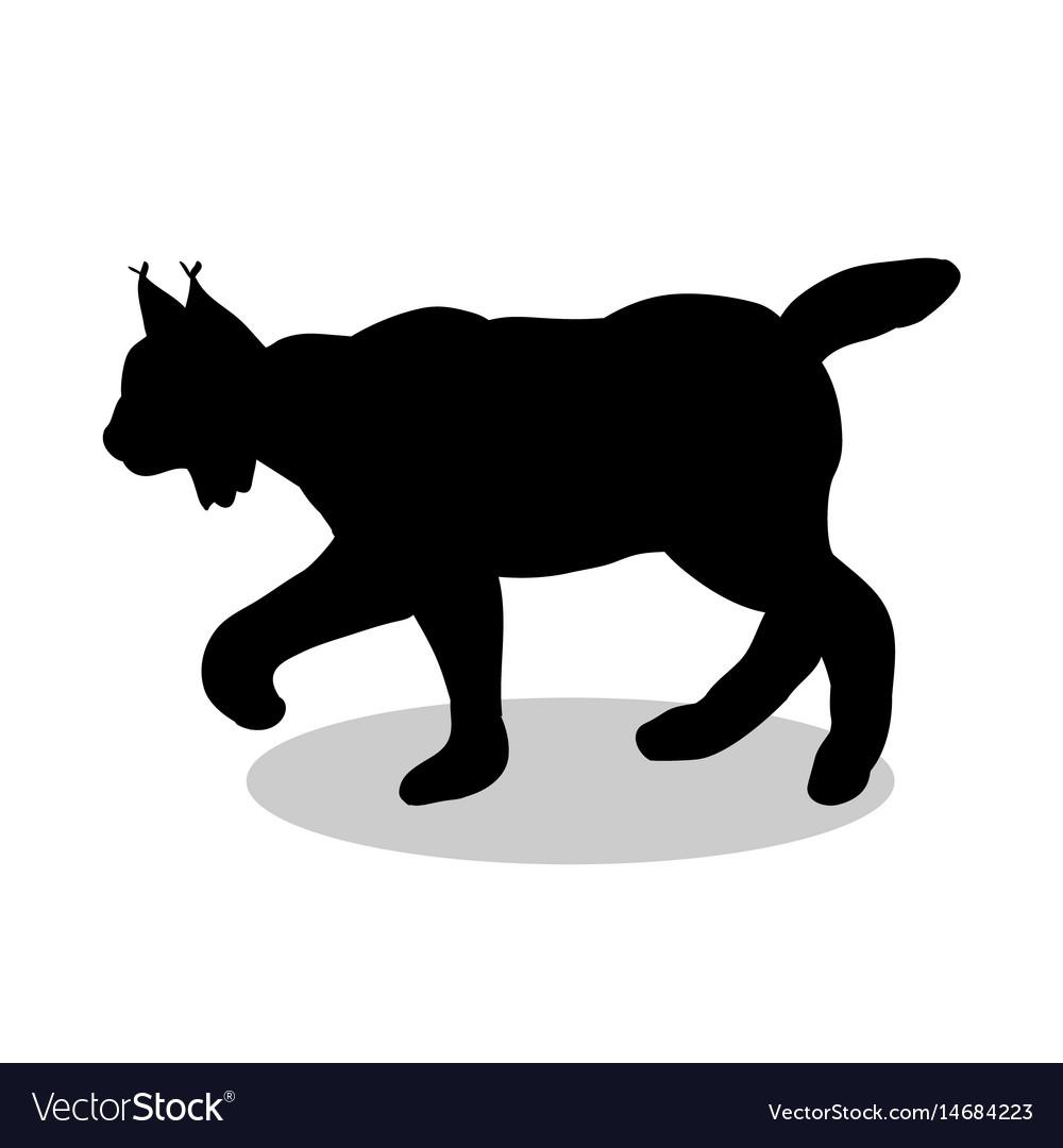 Lynx wildlife black silhouette animal vector image