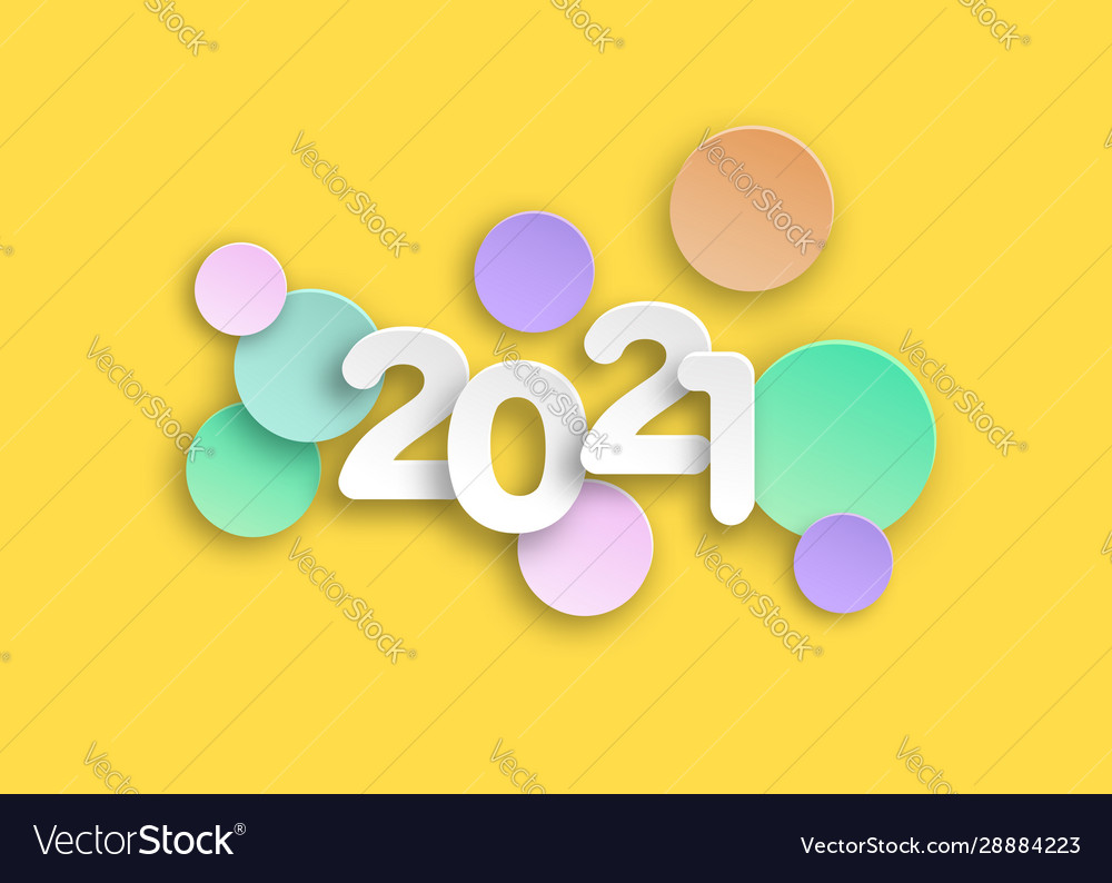 New year 2021 paper cut numbers in delicate colors