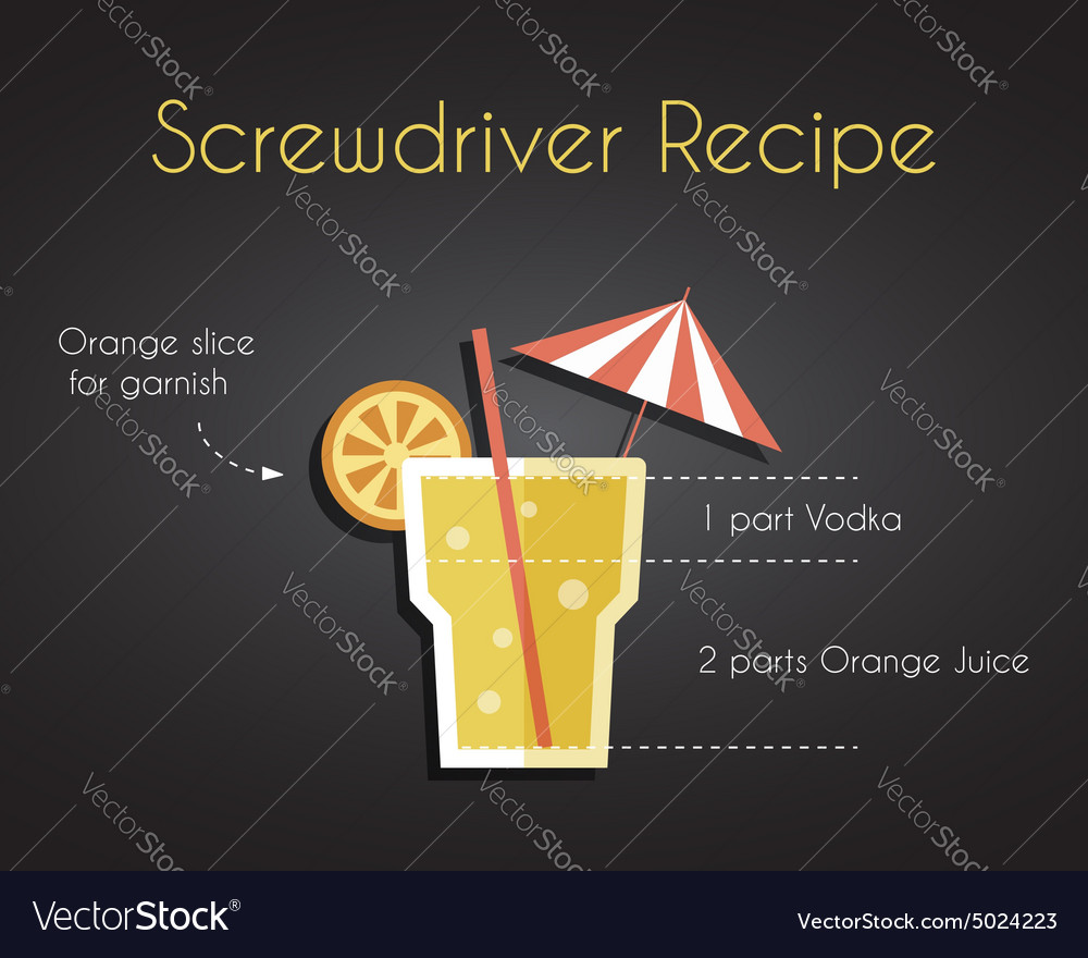 Screw Driver Cocktail Drink Recipe vector image