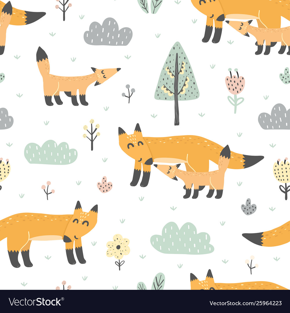 Seamless pattern with cute foxes - mother and baby