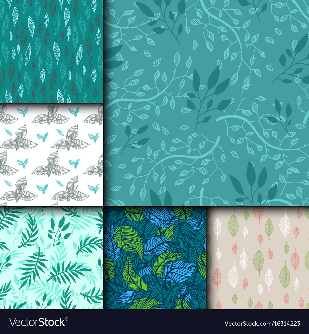 Seamless pattern with leaves hand drawn style