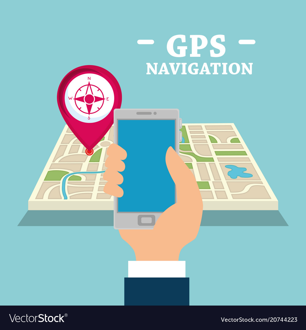 Smartphone with gps navigation app vector image on VectorStock