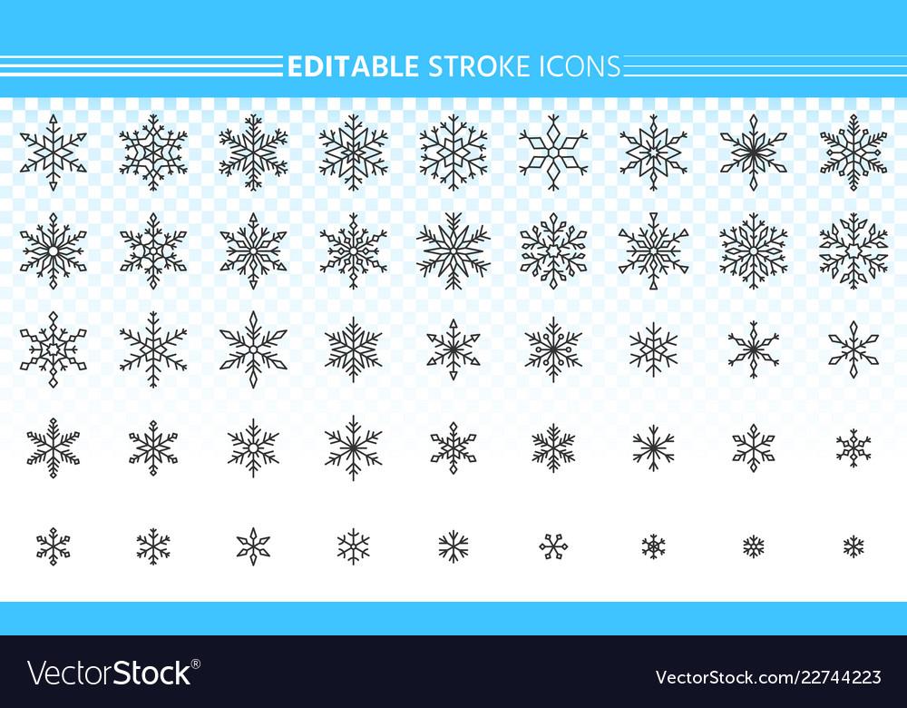 Snowflake simple black line icons snow set
