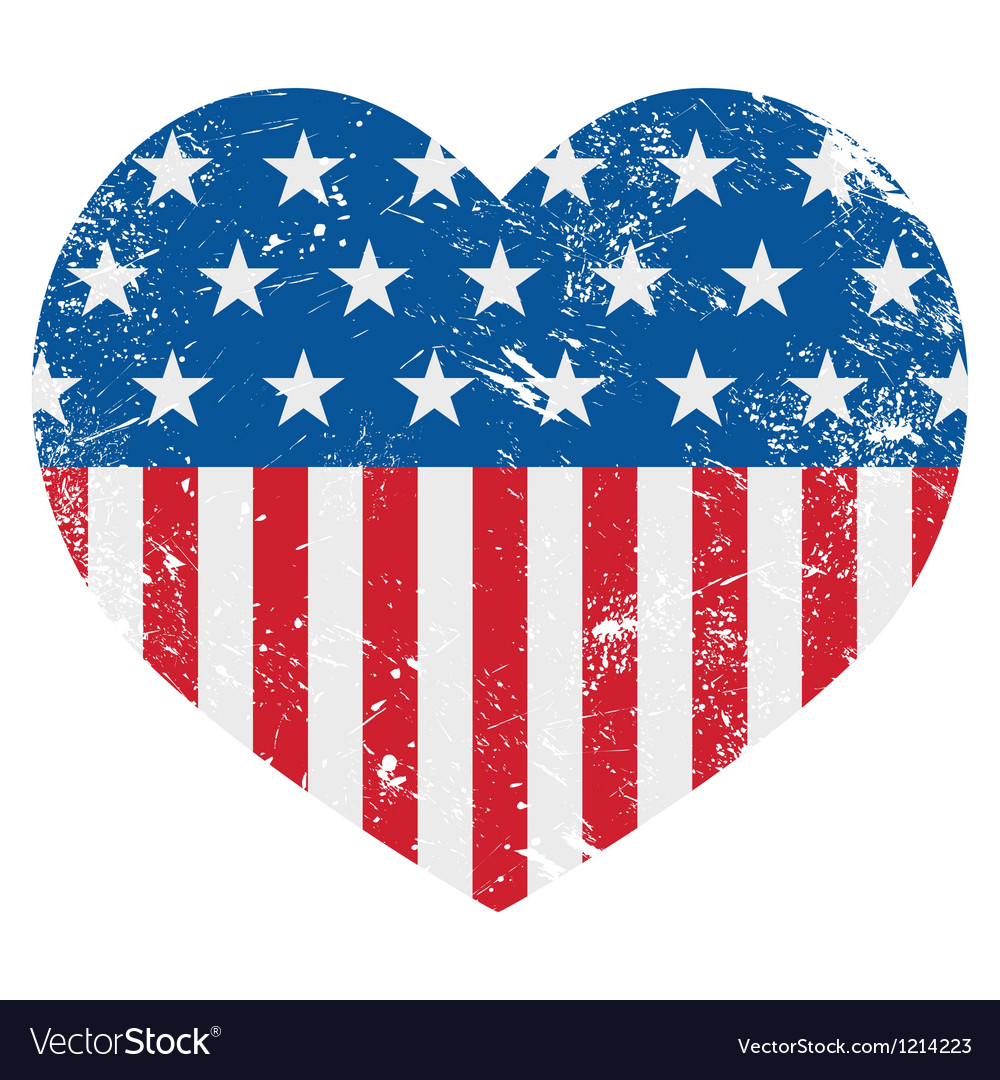 USA America retro heart flag vector image