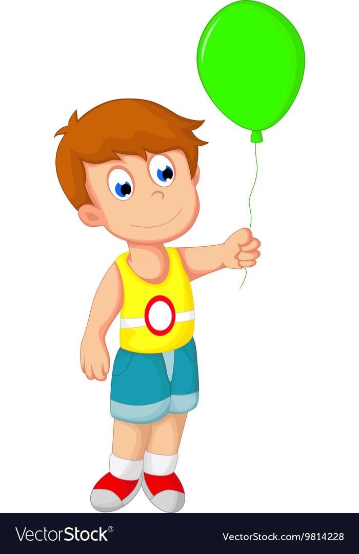 Boy holding a balloon clipart