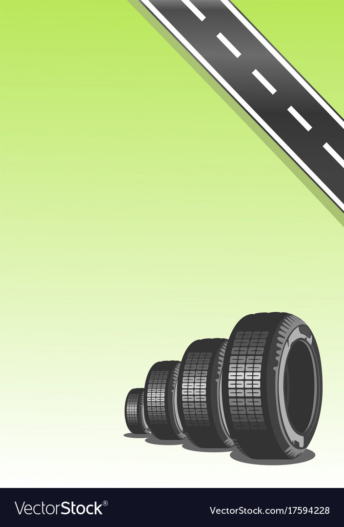Car tire on green background