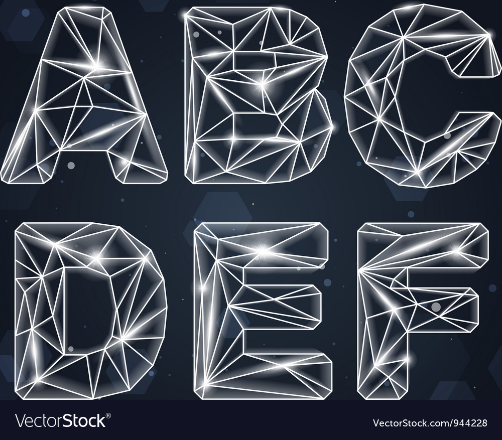 Constellation Geometric Font A-F vector image
