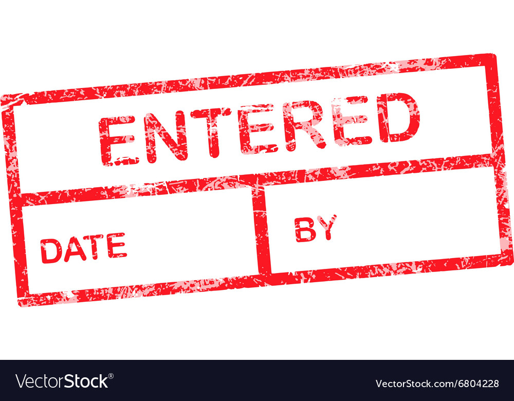 Entered red grunge rubber stamp vector image
