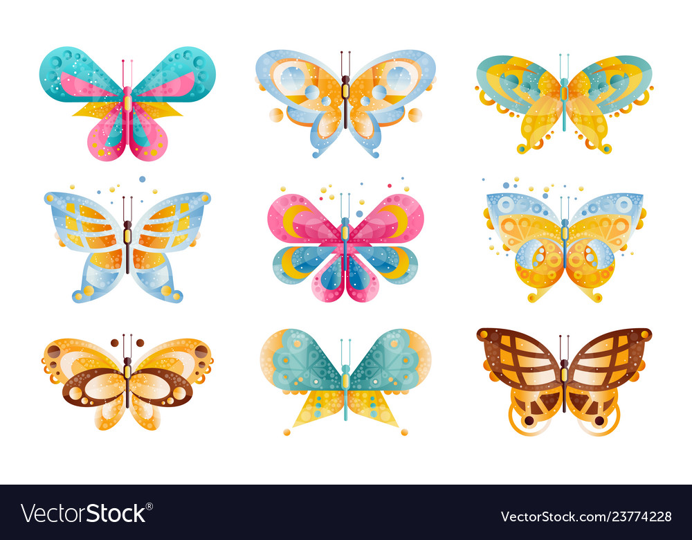 Flat set brightly colored butterflies vector