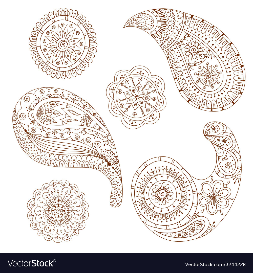 8a836e636 Henna Paisley Mehndi Design Element Royalty Free Vector