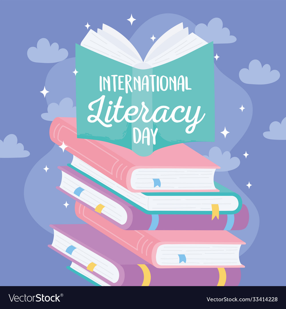 International literacy day textbook on stack