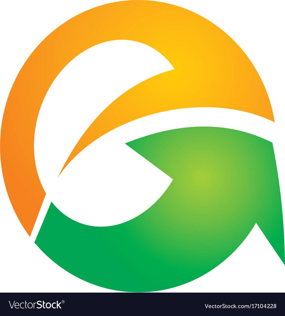 Letter e abstract arrow logo vector image