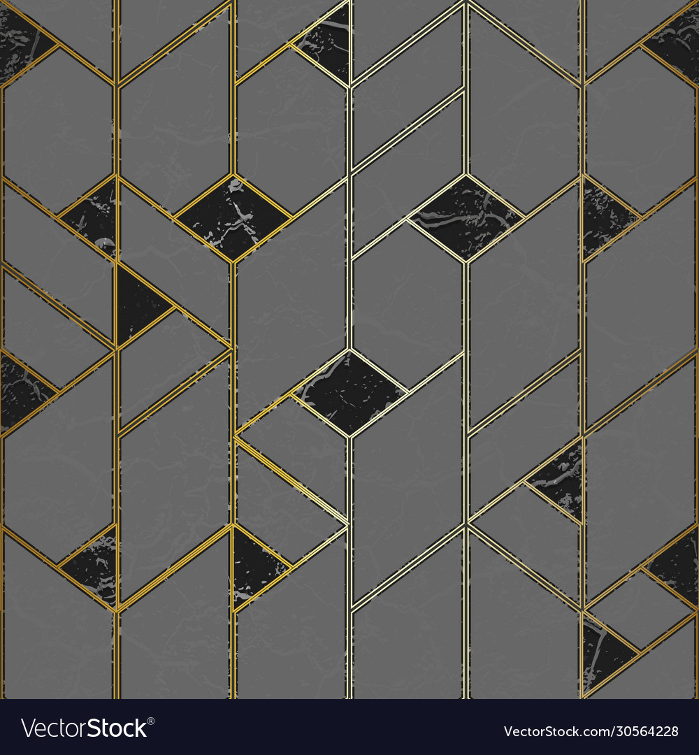 Marple mosaic seamless pattern with gold frame