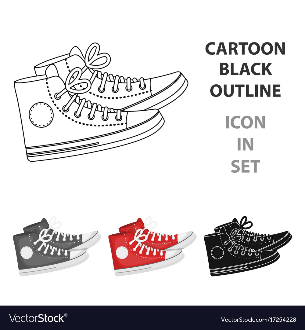 Red gumshoes icon in cartoon style isolated on
