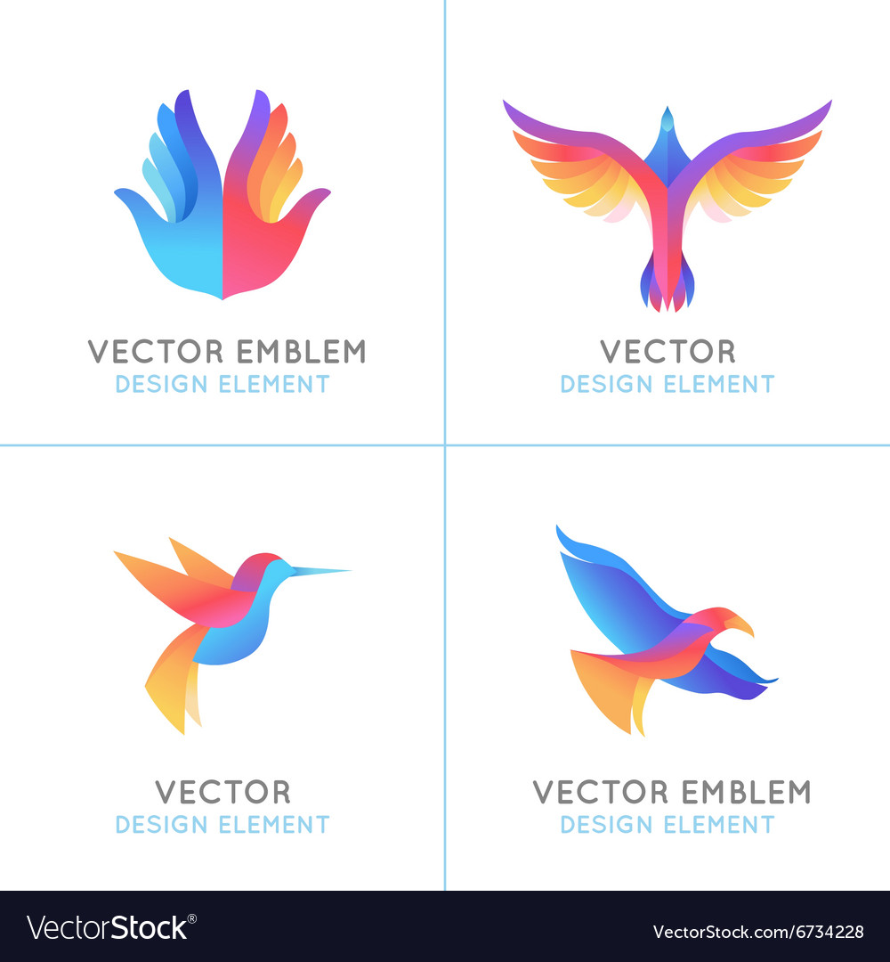 Set of abstract gradient emblems