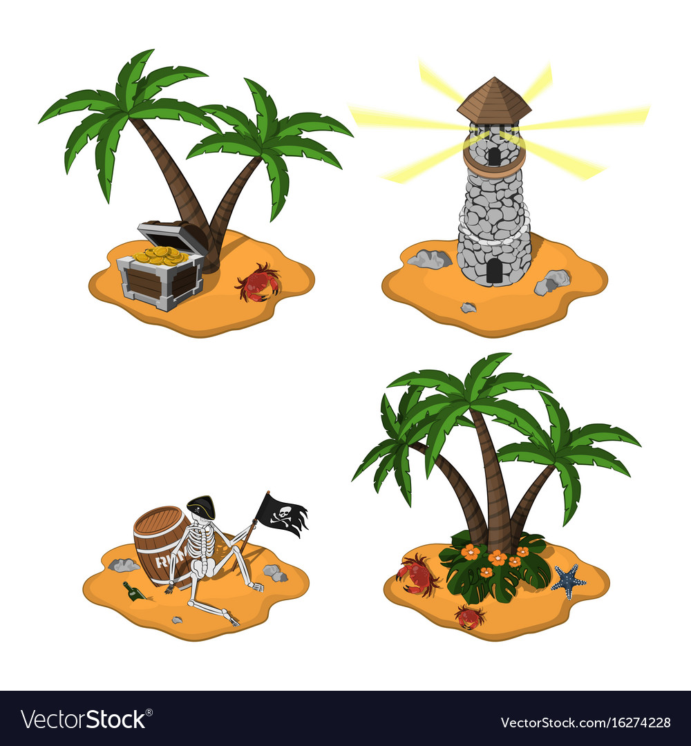 Set of tropical islands in cartoon style