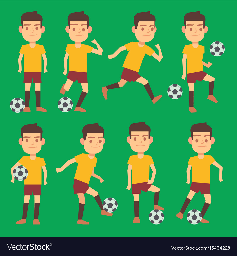 Soccer players poses set green field