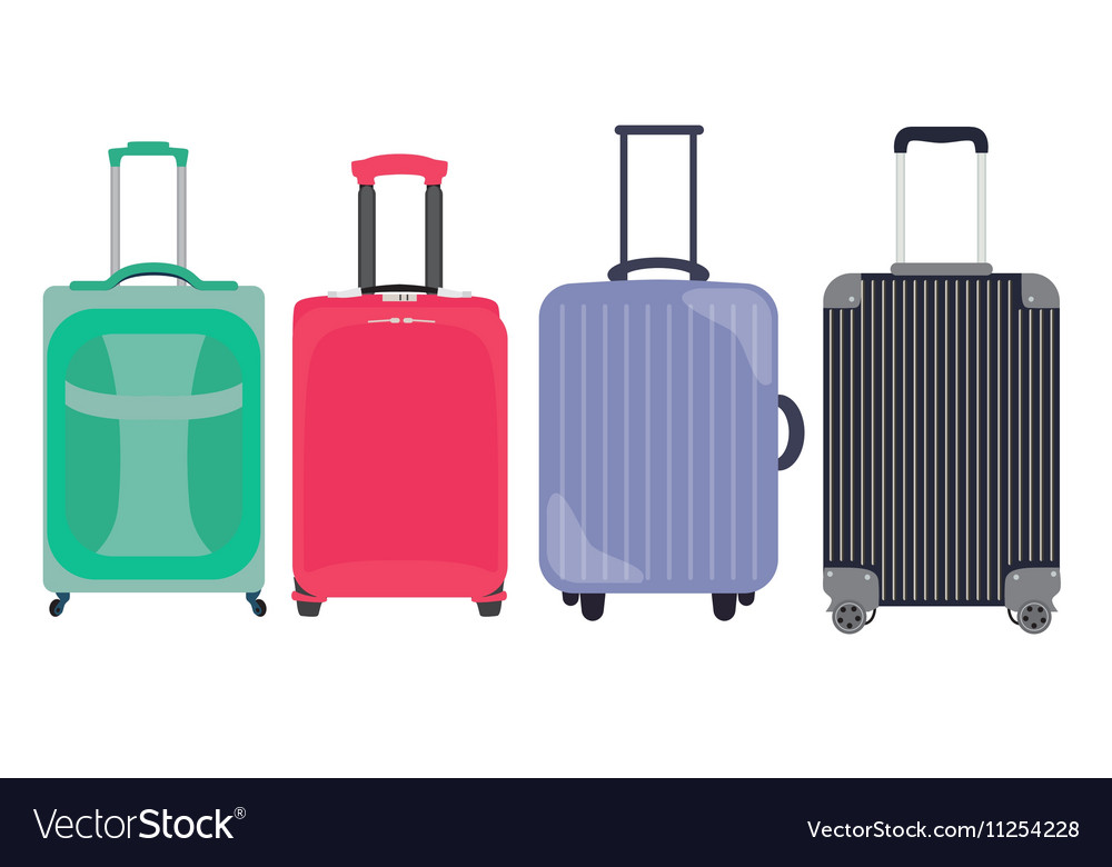 Suitcase travel bag flat icon set collection