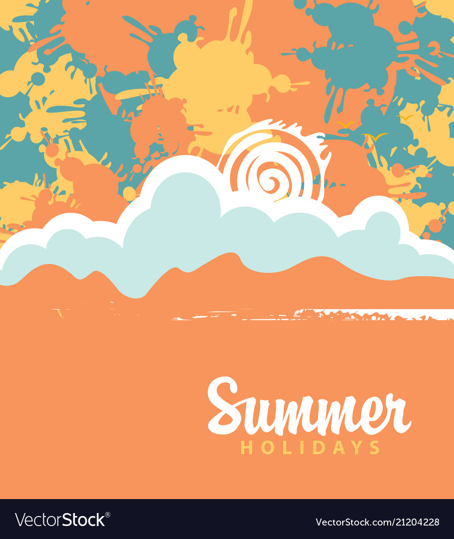 Summer travel banner with color spots and splashes