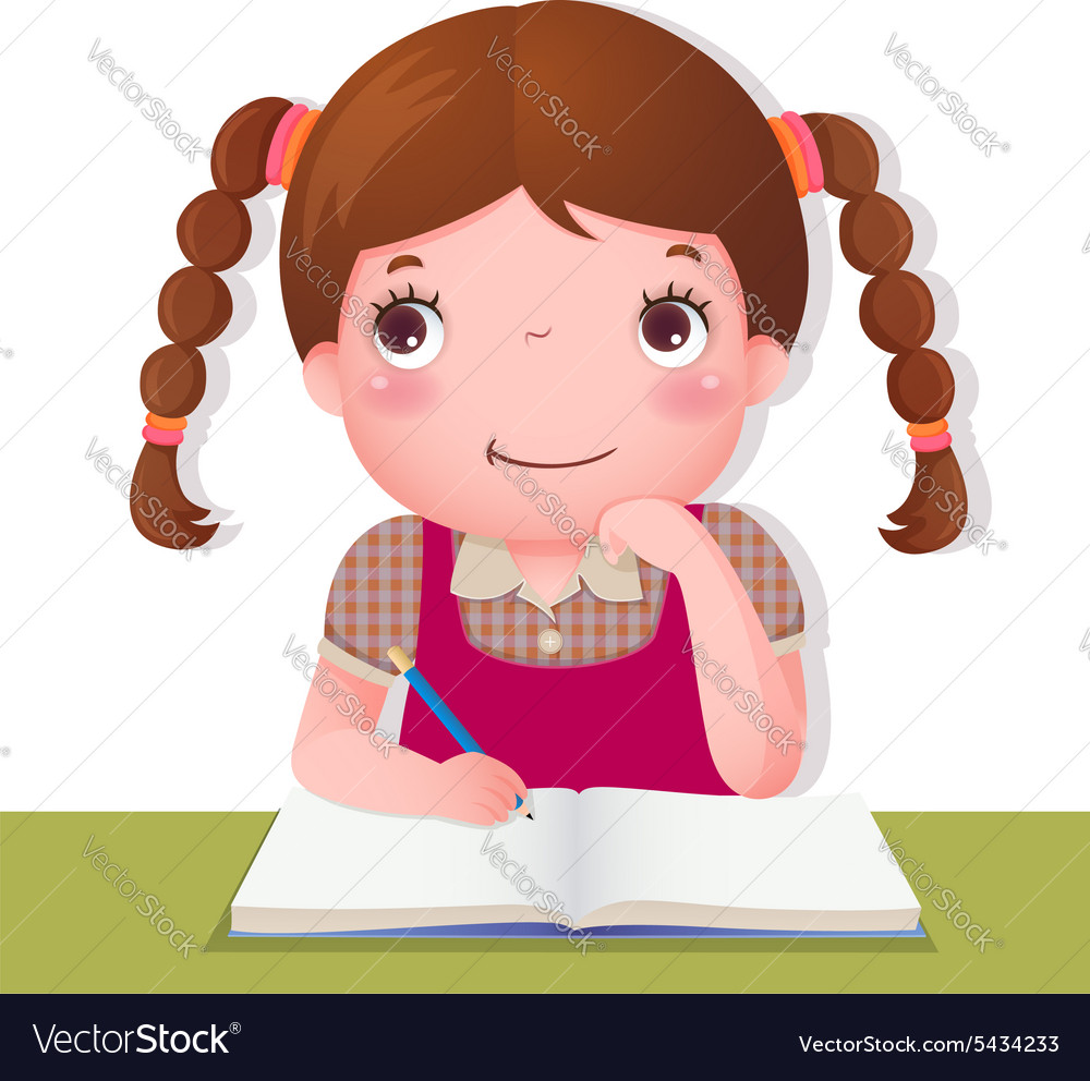 Cute girl thinking while working on her school