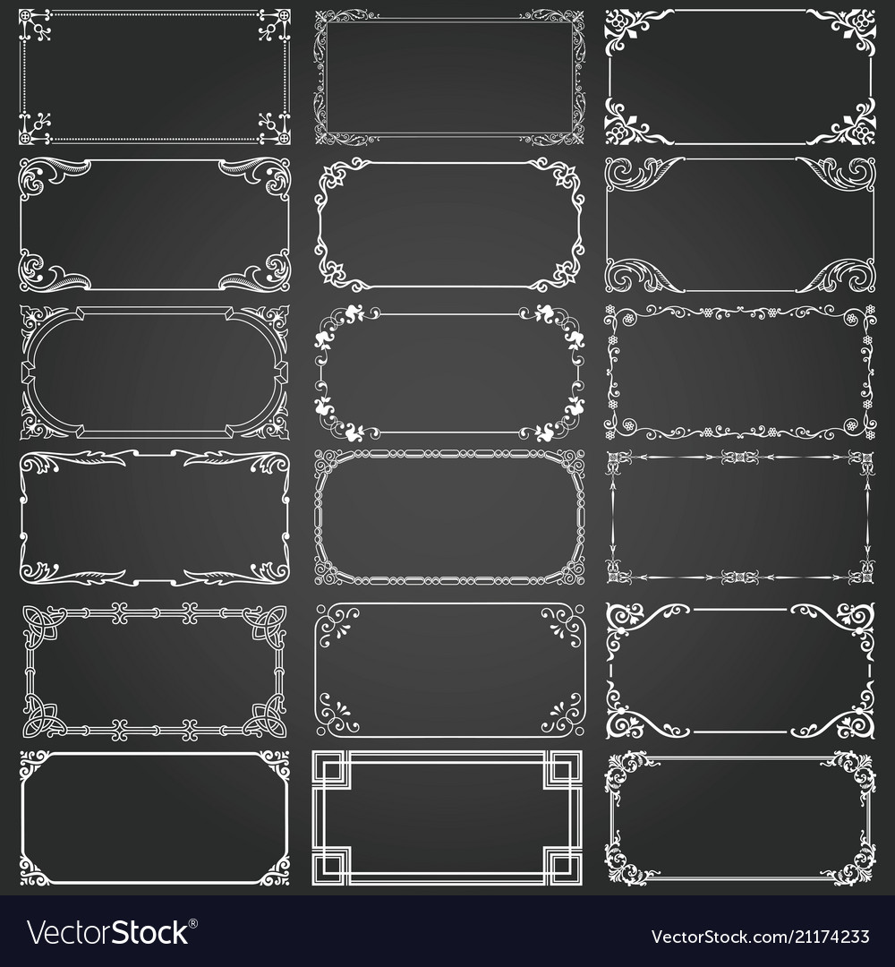 Download Decorative Rectangle Frames And Borders Set Vector Image