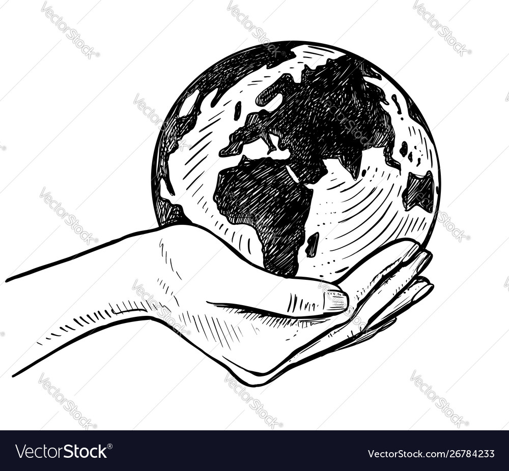 Girls holding planet earth