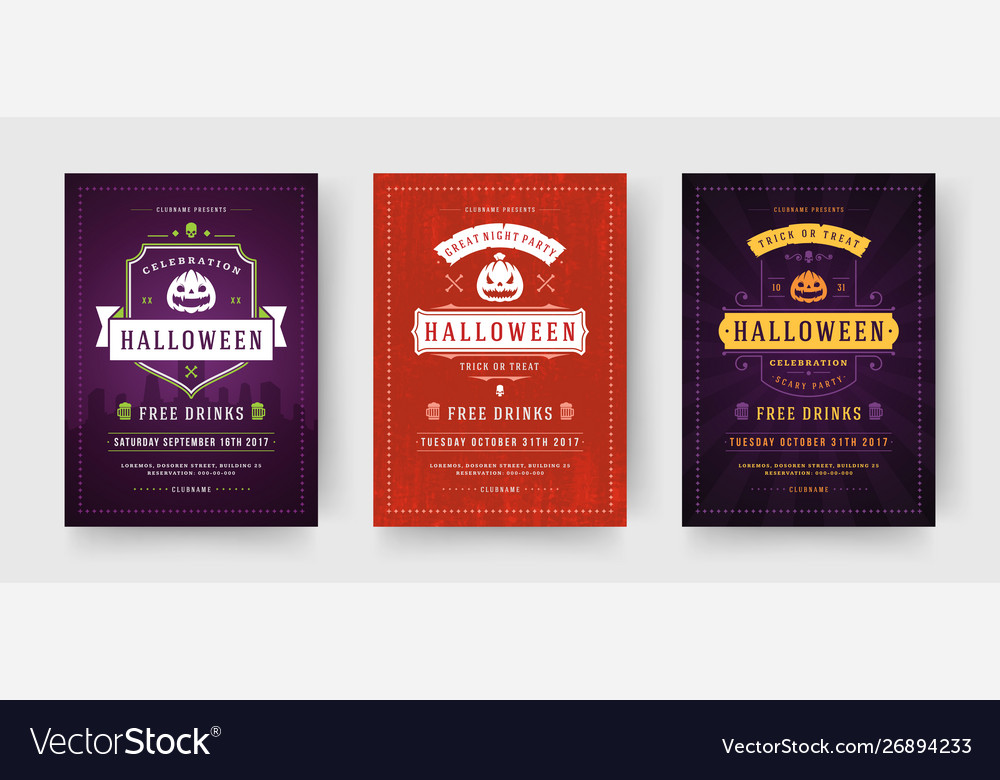 Halloween party flyers invitations or posters set