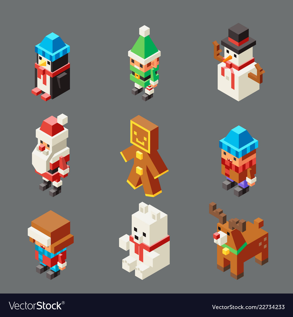 Isometric lowpoly christmas characters winter new