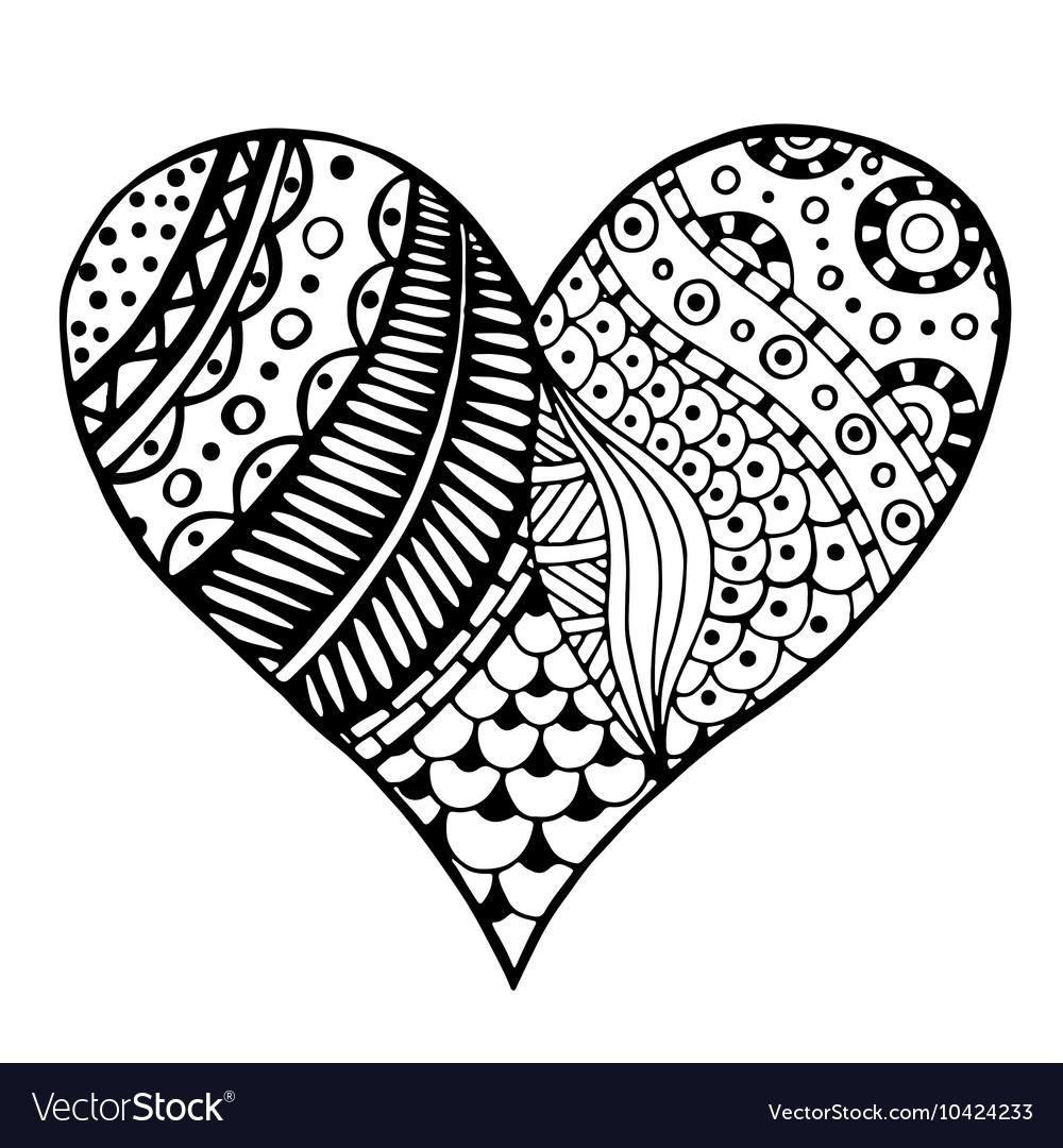 Patterned love heart sketch