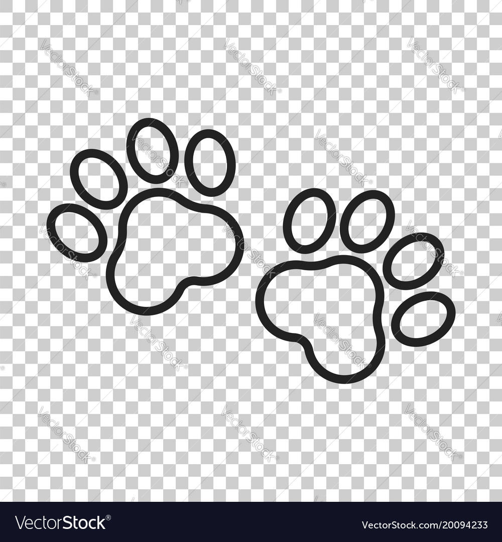 Paw print icon in line style dog or cat pawprint