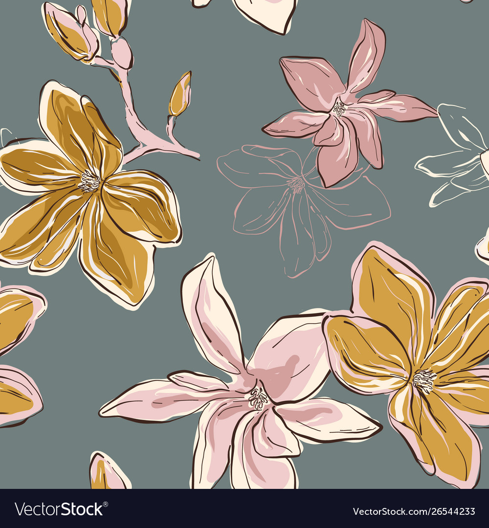 Seamless floral pattern in tender blue green