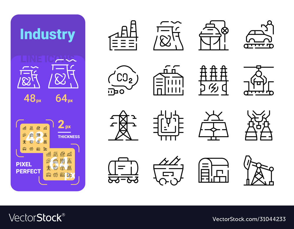 Set industry simple lines icons energy