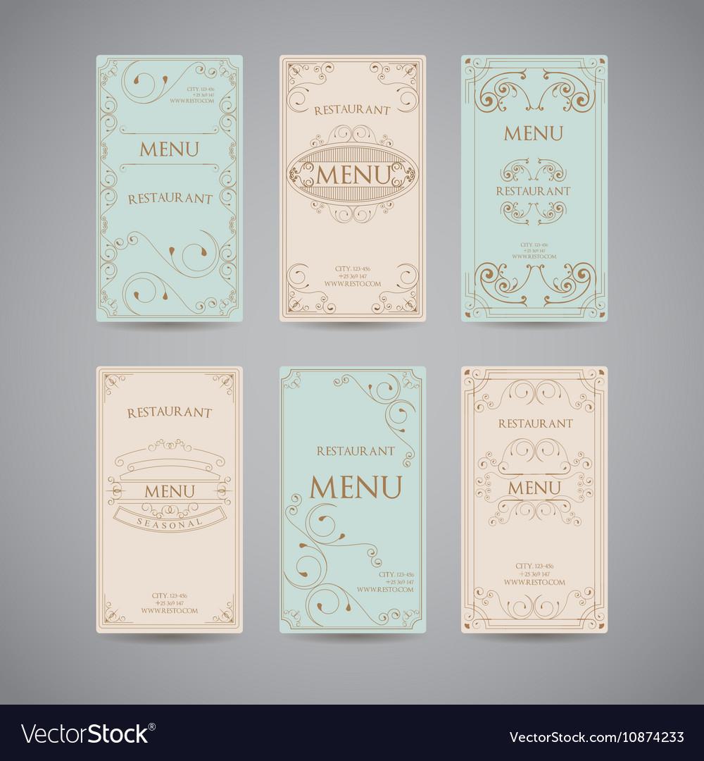 Set Of Vintage Luxury Greeting Restaurant Menu