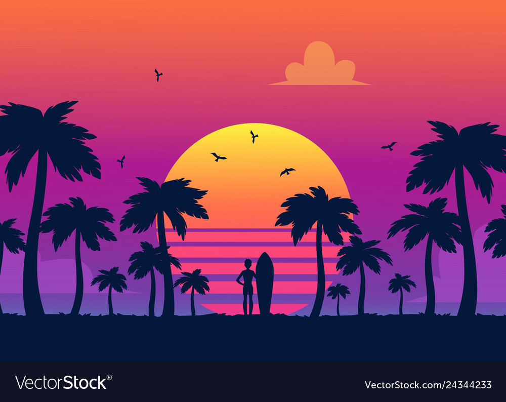 Silhouettes of tropical summer palm trees surfer