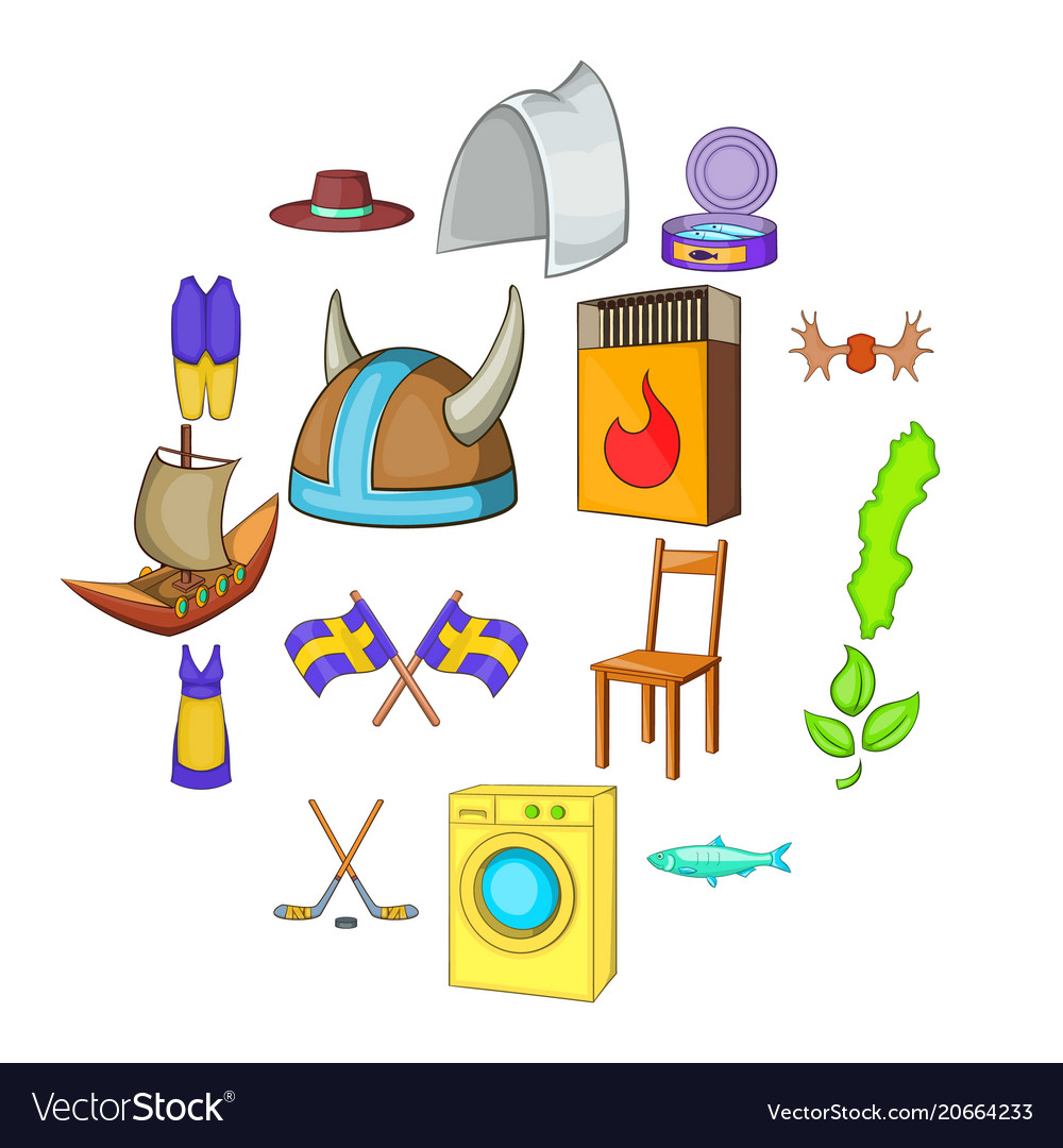Sweden Icons Set Cartoon Style Royalty Free Vector Image